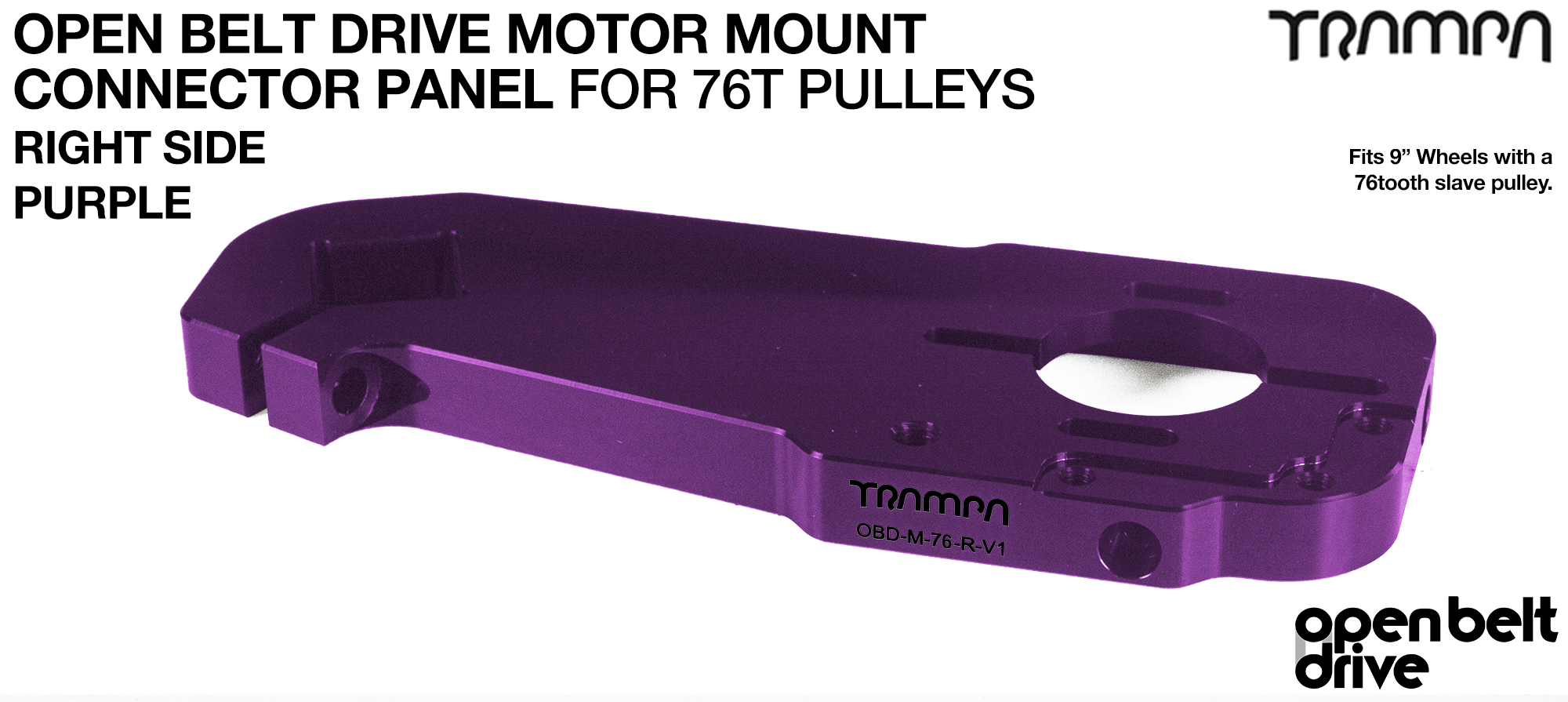 OBD Motor Mount Connector Panel for 76 tooth Pulleys - GOOFY - PURPLE