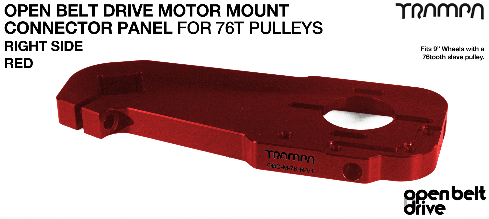 OBD Motor Mount Connector Panel for 76 tooth Pulleys - GOOFY - RED
