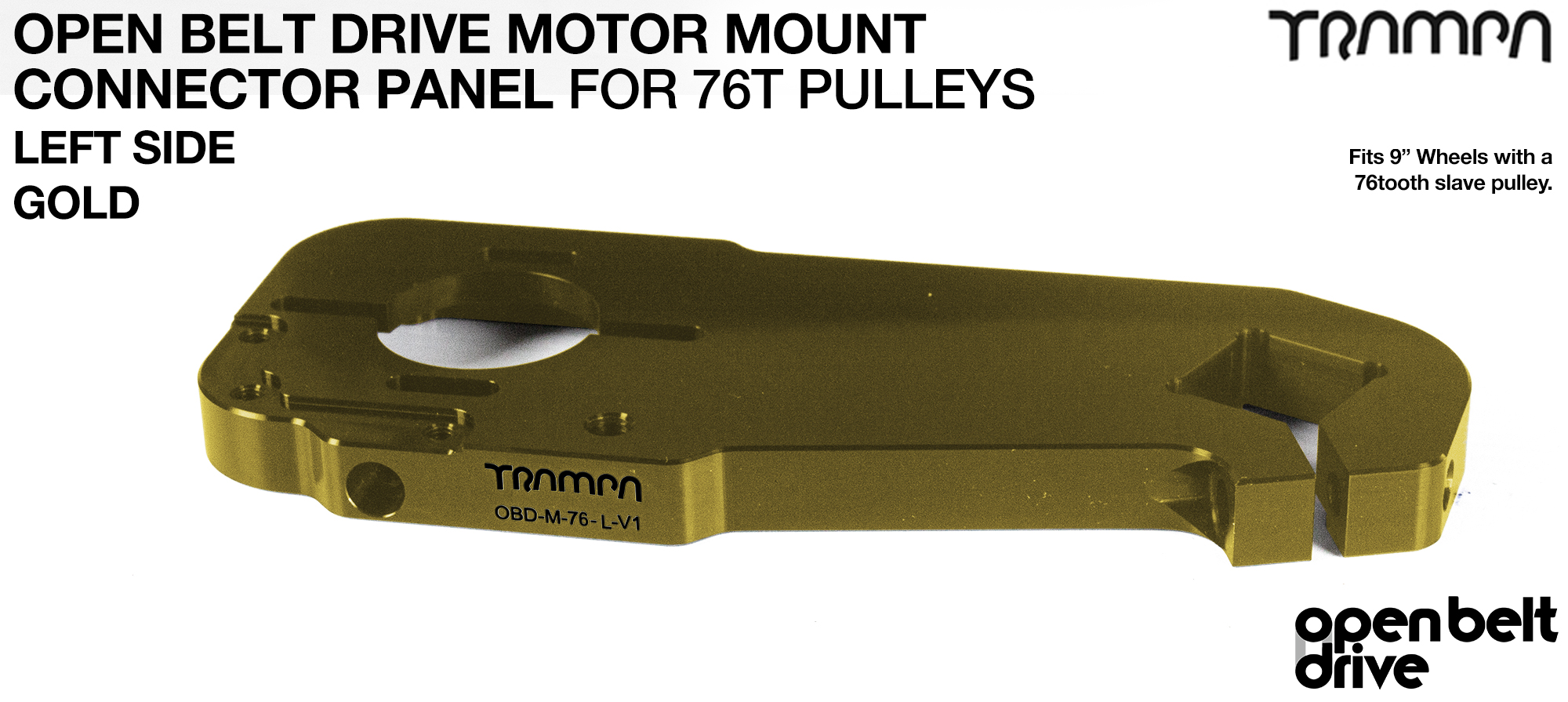 OBD Motor Mount Connector Panel for 76 tooth pulleys - REGULAR - GOLD