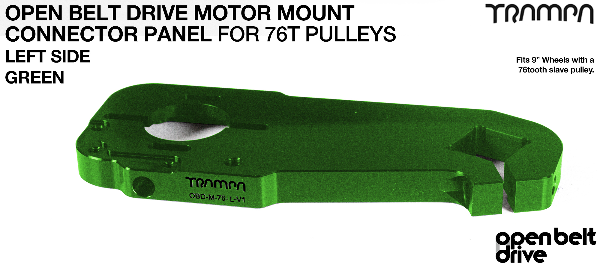 OBD Motor Mount Connector Panel for 76 tooth pulleys - REGULAR - GREEN