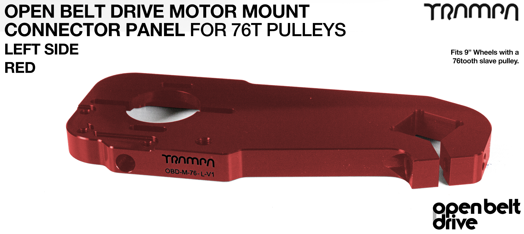 OBD Motor Mount Connector Panel for 76 tooth pulleys - REGULAR - RED