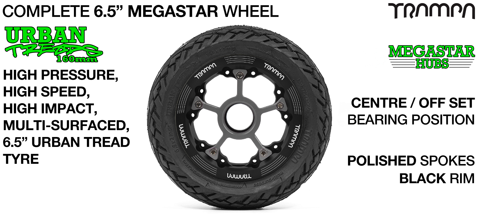 BLACK MEGASTAR Rims with POLISHED Spokes & the amazing Low Profile 6.5 Inch URBAN Treads Tyres