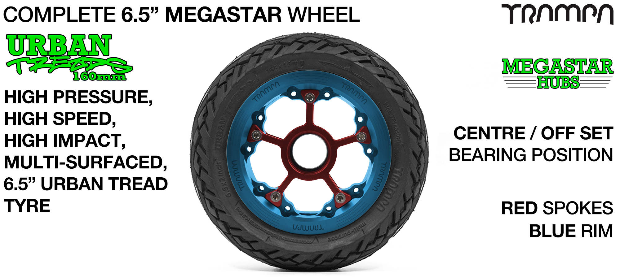 BLUE MEGASTAR Rims with RED Spokes & 6.5 Inch URBAN Treads Tyres