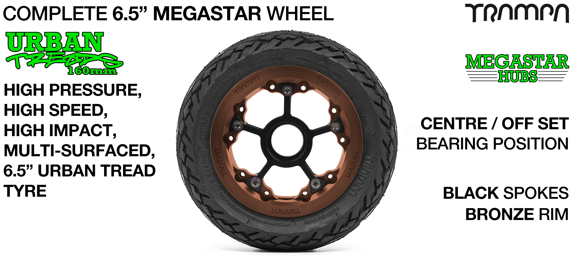 BRONZE MEGASTAR Rims with BLACK Spokes & 6.5 Inch URBAN Treads Tyres