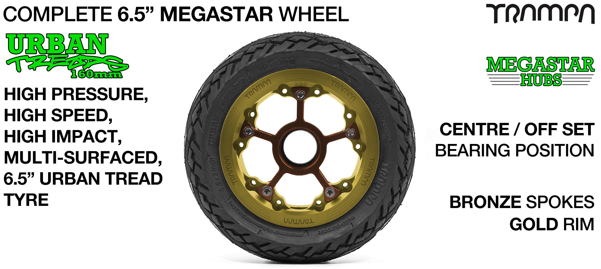 GOLD MEGASTAR Rims with BRONZE Spokes & 6.5 Inch URBAN Treads Tyres