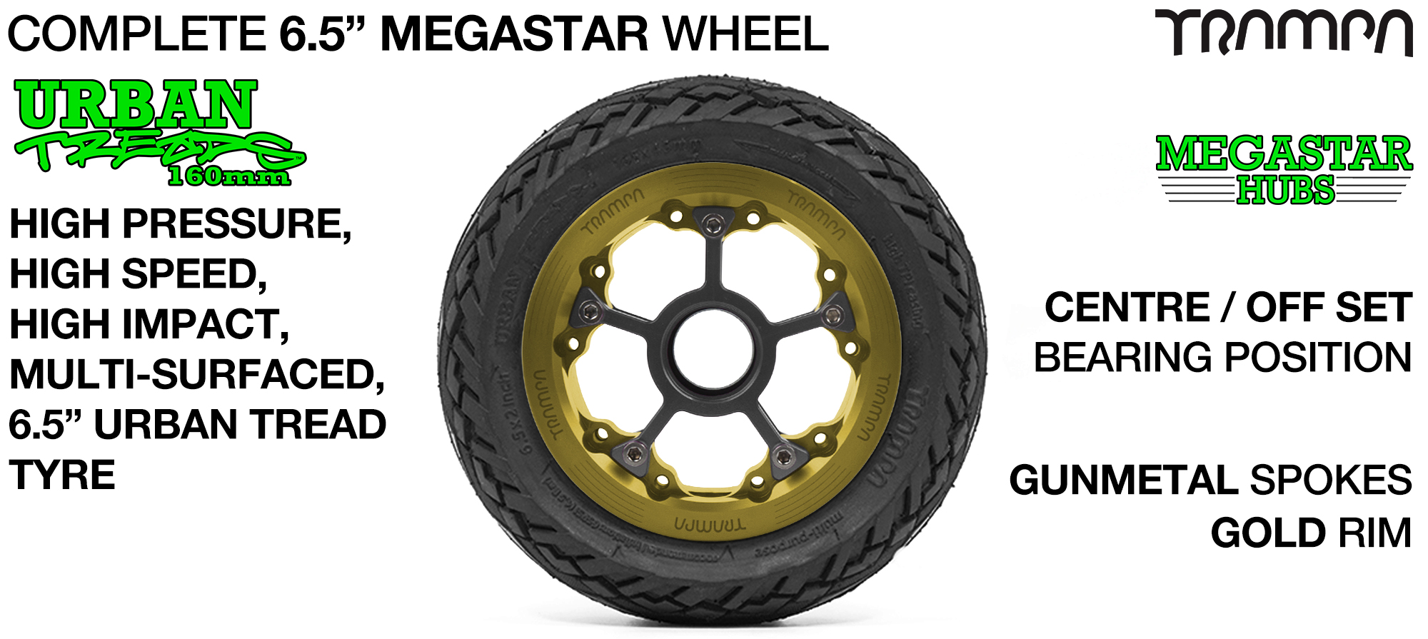GOLD MEGASTAR Rims with GUNMETAL Spokes & 6.5 Inch URBAN Treads Tyres