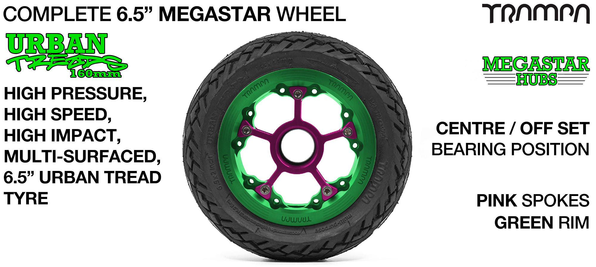GREEN MEGASTAR Rims with PINK Spokes & 6.5 Inch URBAN Treads Tyres