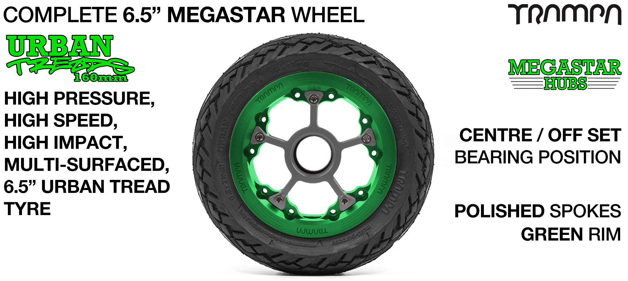 GREEN MEGASTAR Rims with POLISHED Spokes & 6.5 Inch URBAN Treads Tyres