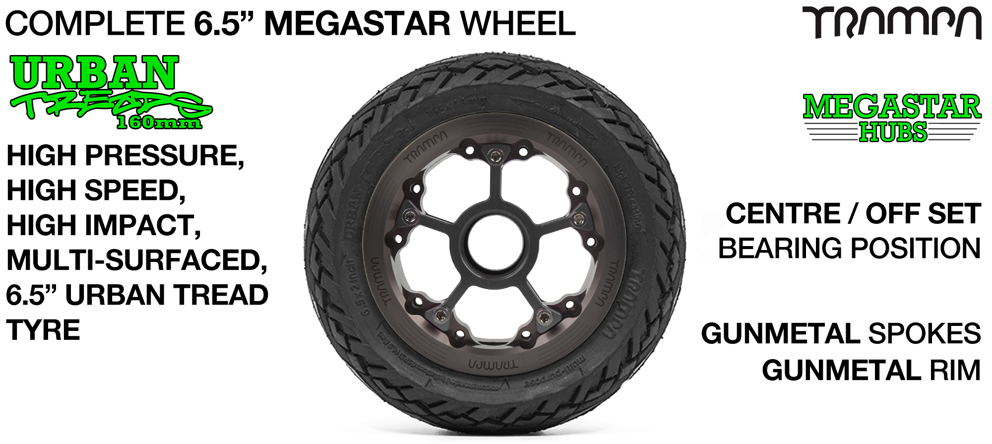 GUNMETAL MEGASTAR Rims with GUNMETAL Spokes & 6.5 Inch URBAN Treads Tyres