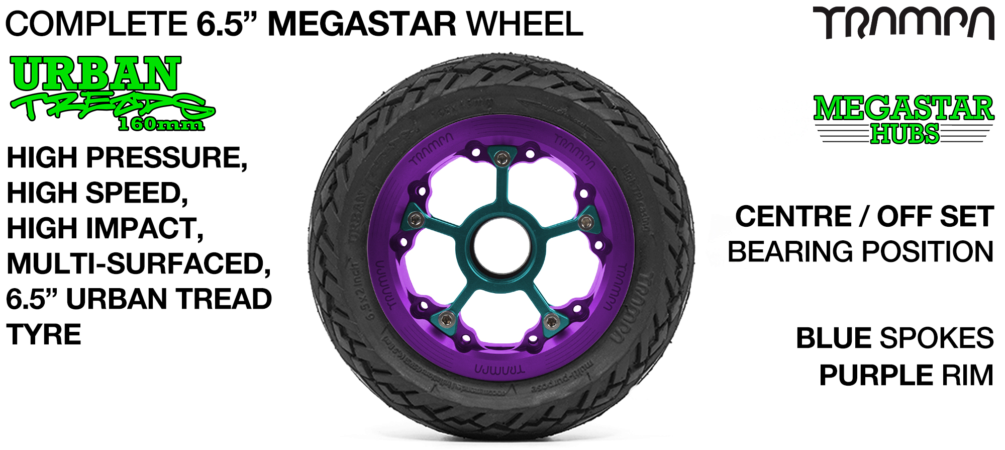 PURPLE MEGASTAR Rims with BLUE Spokes & 6.5 Inch URBAN Treads Tyres