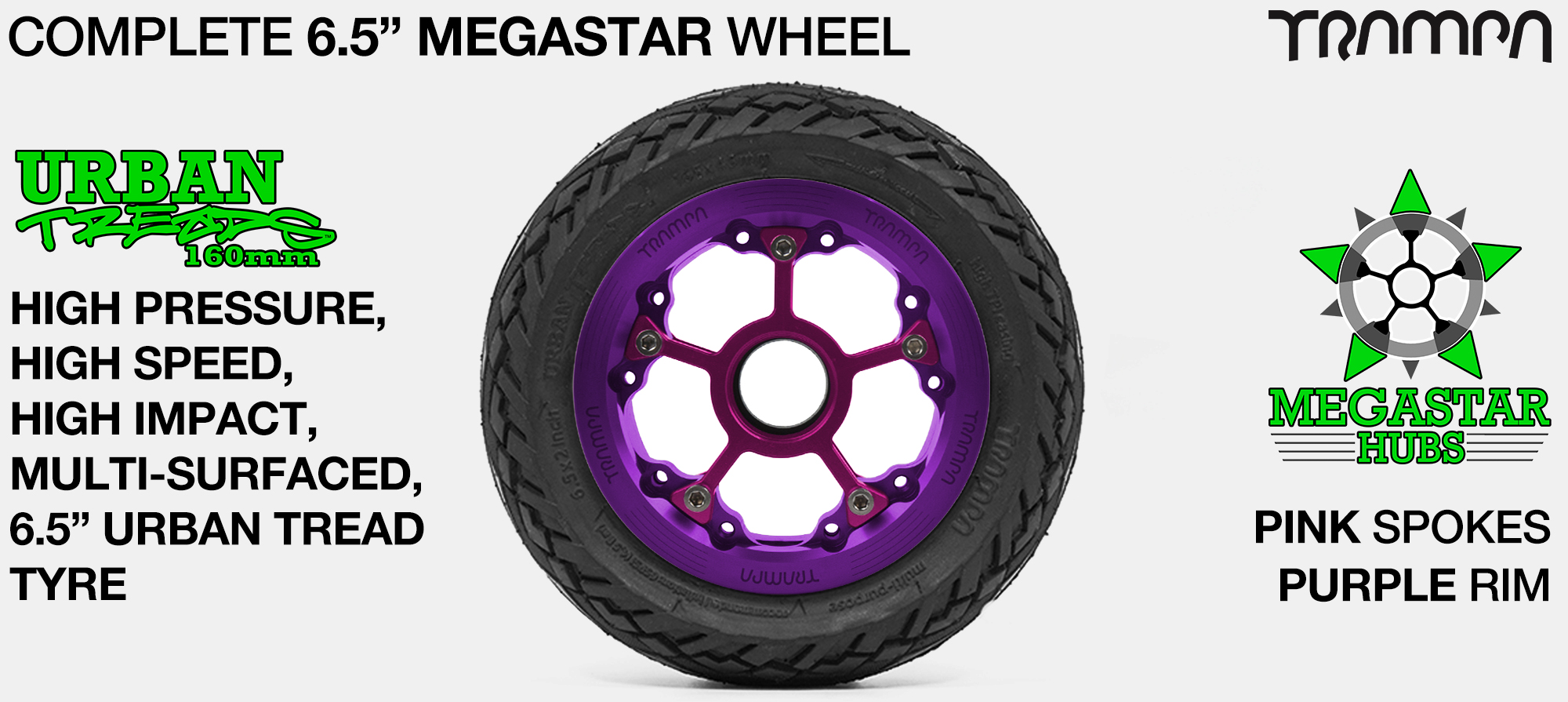 PURPLE MEGASTAR Rims with PINK Spokes & 6.5 Inch URBAN Treads Tyres