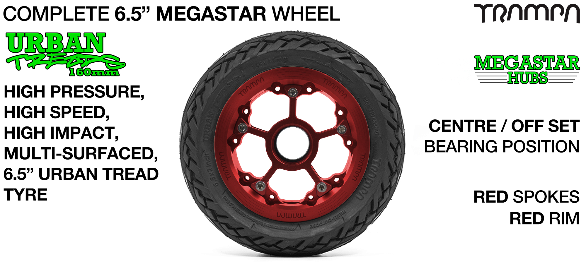 RED MEGASTAR Rims with RED Spokes & 6.5 Inch URBAN Treads Tyres