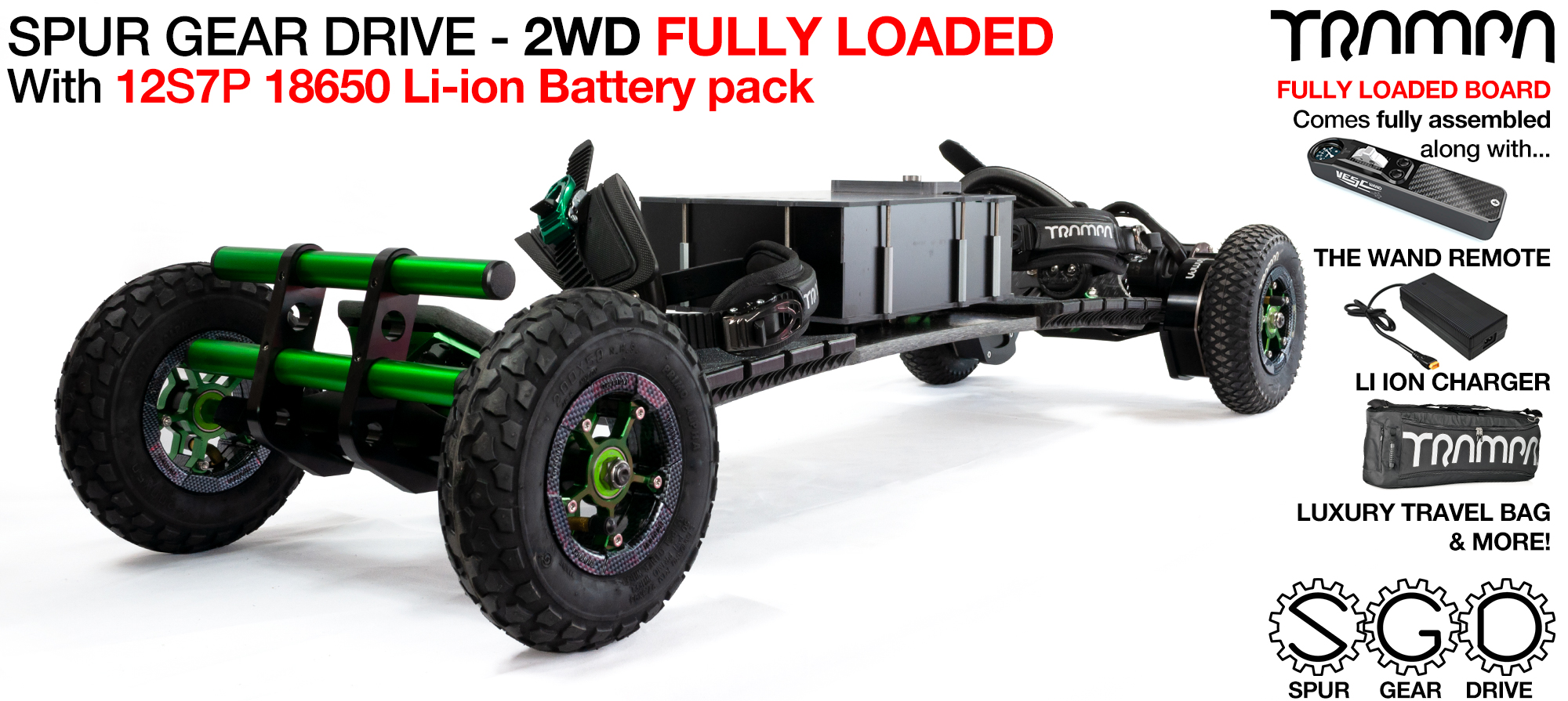 2WD SPUR GEAR DRIVE Electric Mountainboard - FULLY LOADED Battery Pack with 9 inch MEGASTARS on rear 8 inch Megastars on front, Mud-Pluggers supplied with The WAND, 12A Charger & Bull Bars as standard!!