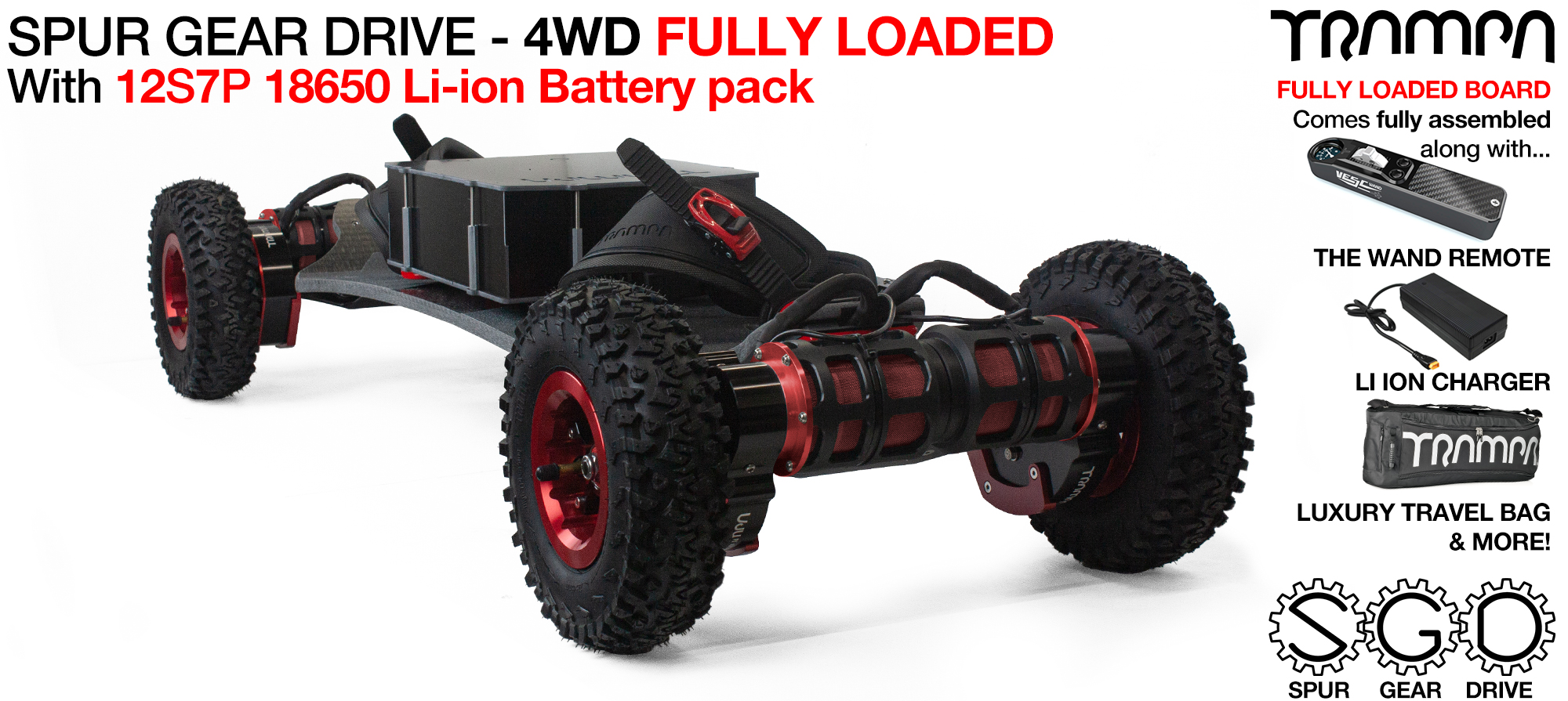4WD SPUR GEAR DRIVE BIGBOI & Battery pack TRAMPA Electric Mountainboard with MEGASTARS hubs all round