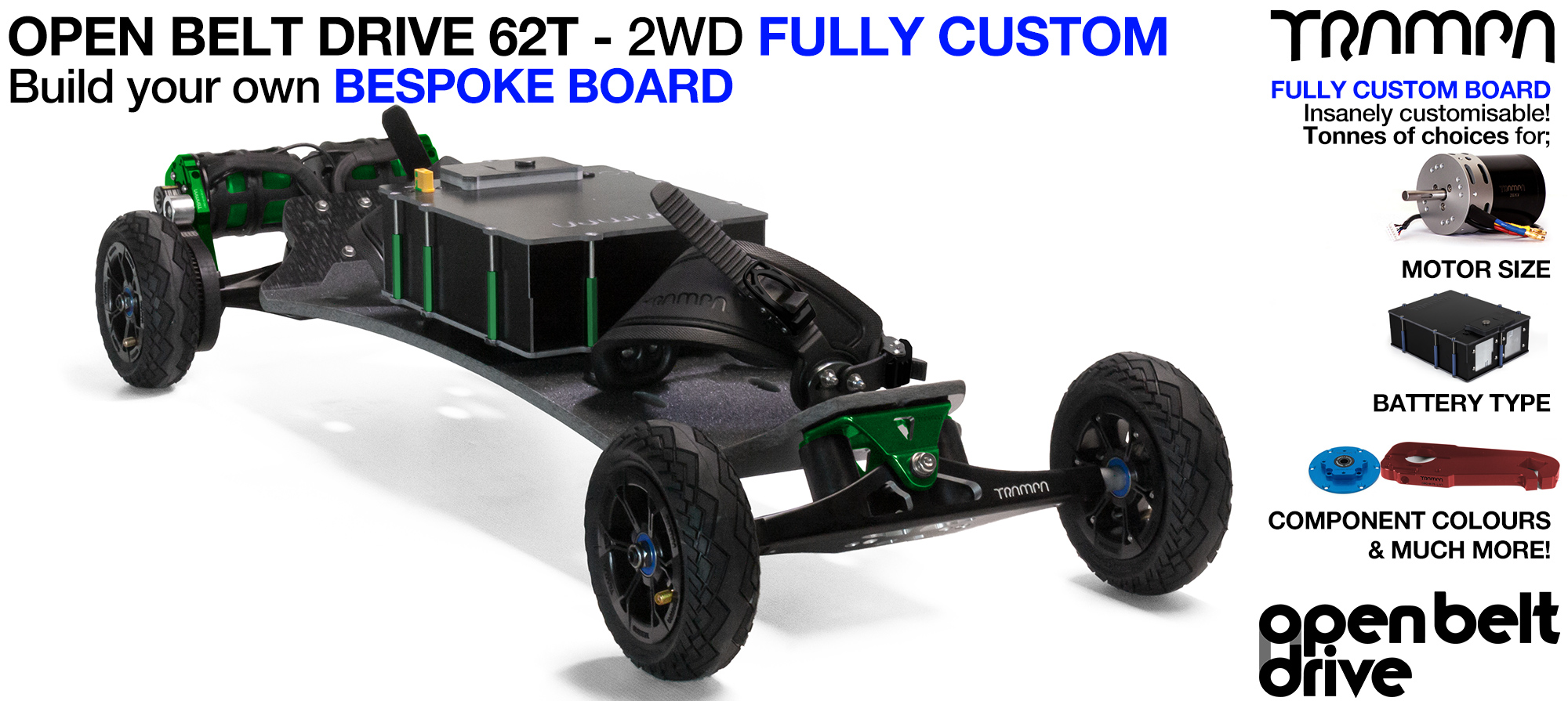 2WD 66T Open Belt Drive TRAMPA Electric Mountainboard with 6 Inch URBAN TREADs Wheels & 62 Tooth Pulleys - CUSTOM