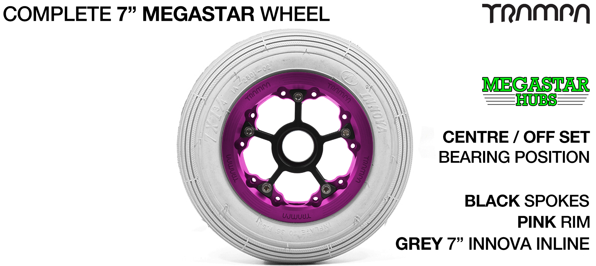 PINK MEGASTAR Rims with BLACK Spokes & 7 Inch Tyres
