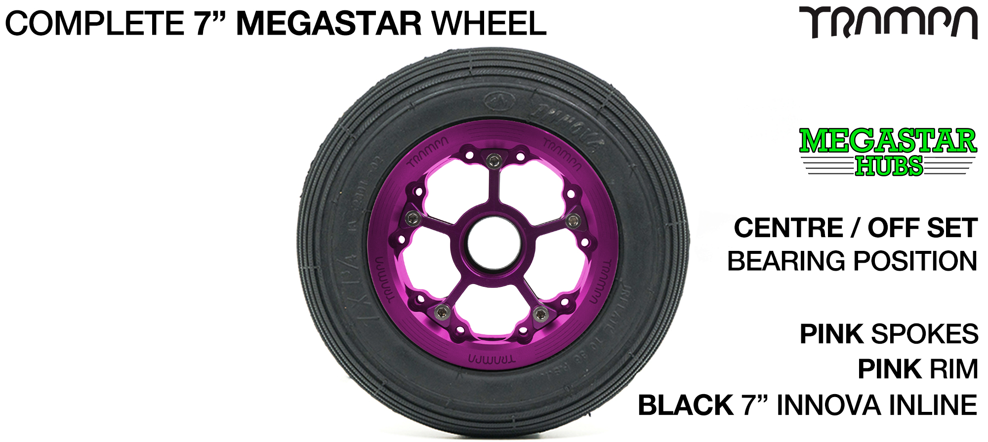 PINK MEGASTAR Rims with PINK Spokes & 7 Inch Tyres