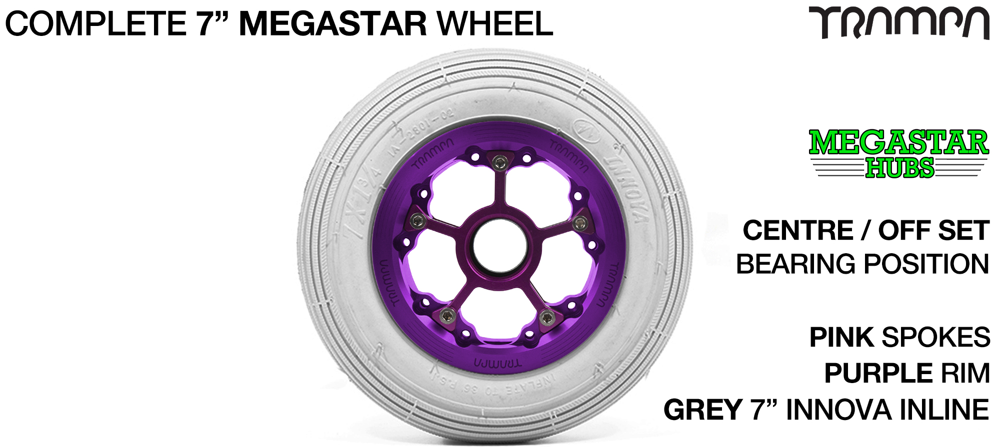 PURPLE MEGASTAR Rims with PINK Spokes & 7 Inch Tyres