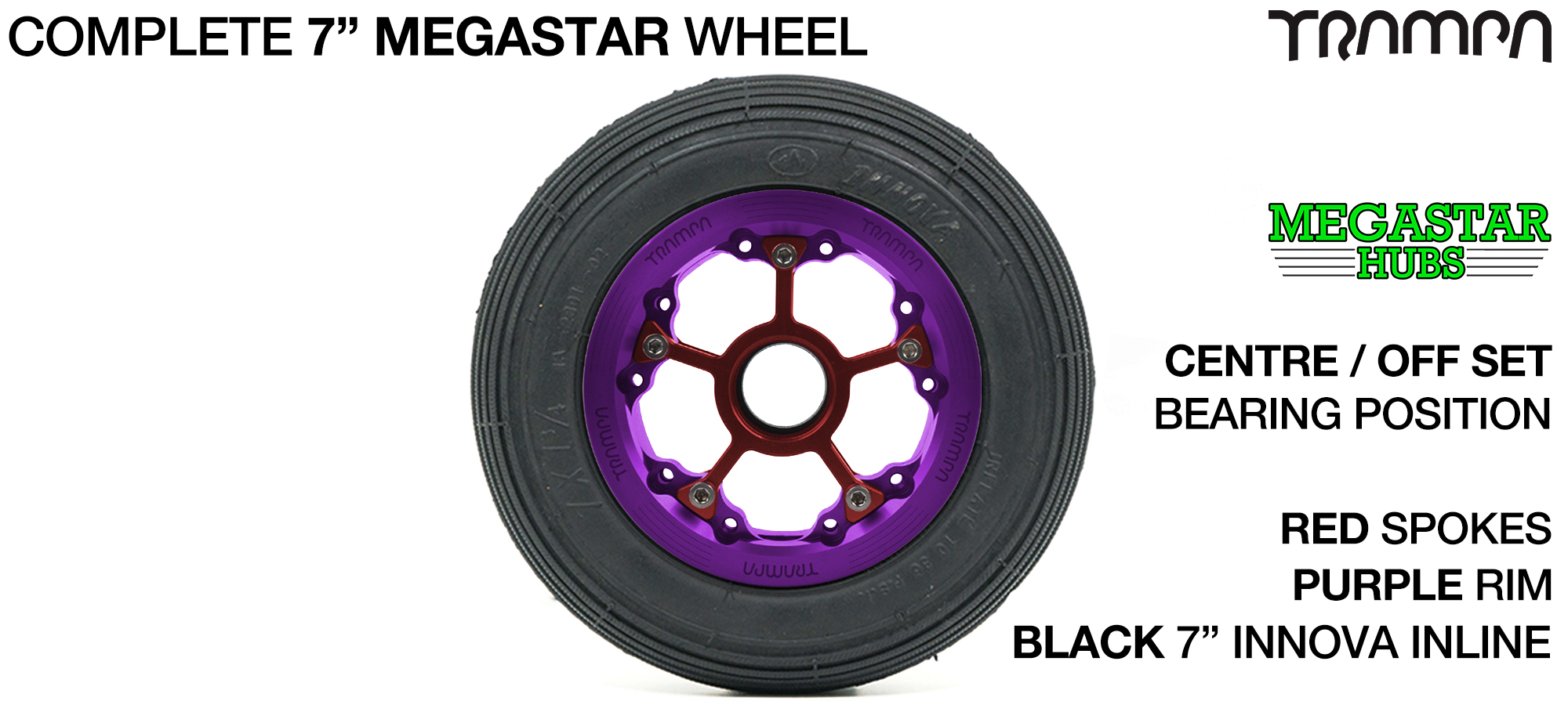 PURPLE MEGASTAR Rims with RED Spokes & 7 Inch Tyres