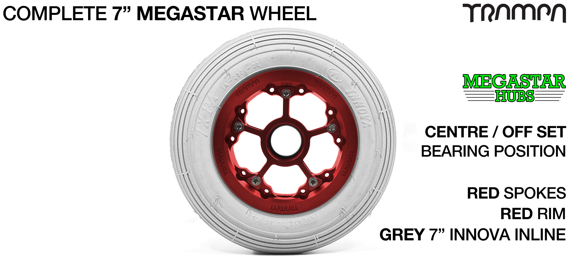 RED MEGASTAR Rims with RED Spokes & 7 Inch Tyres