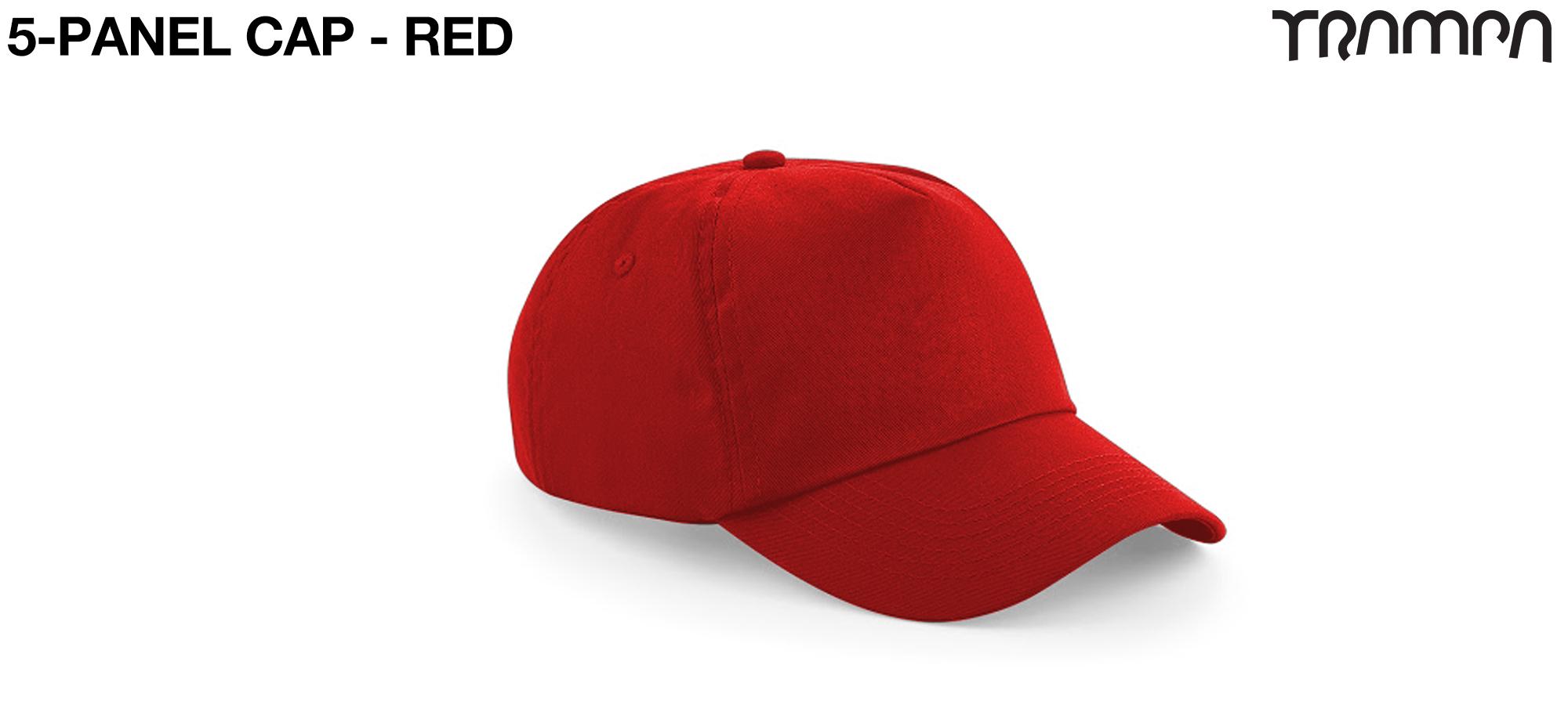 5 Panel HEAVY BASEBALL Cap - RED