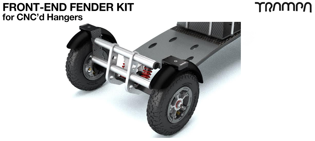 FRONT Fender Kit for 8 Inch Wheel boards - Standard or Precision CNC'd hanger