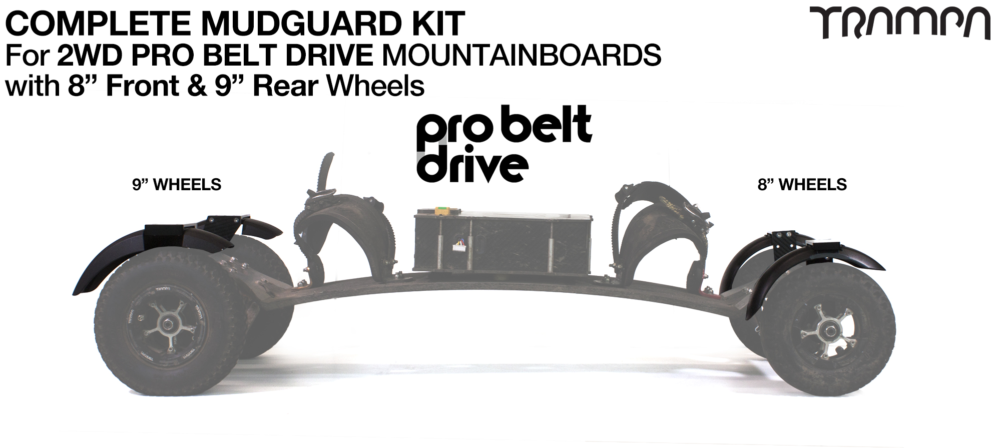 "Full Mudguard Kit for 2WD PRO BELT DRIVE Mountainboards - 8"" & 9"" Wheels"