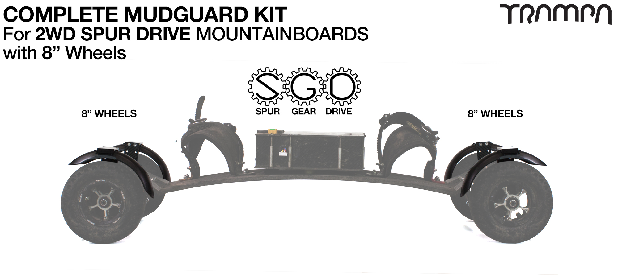 "Full Mudguard Kit for 2WD SPUR GEAR DRIVE Mountainboards - 8"" Wheels All round"