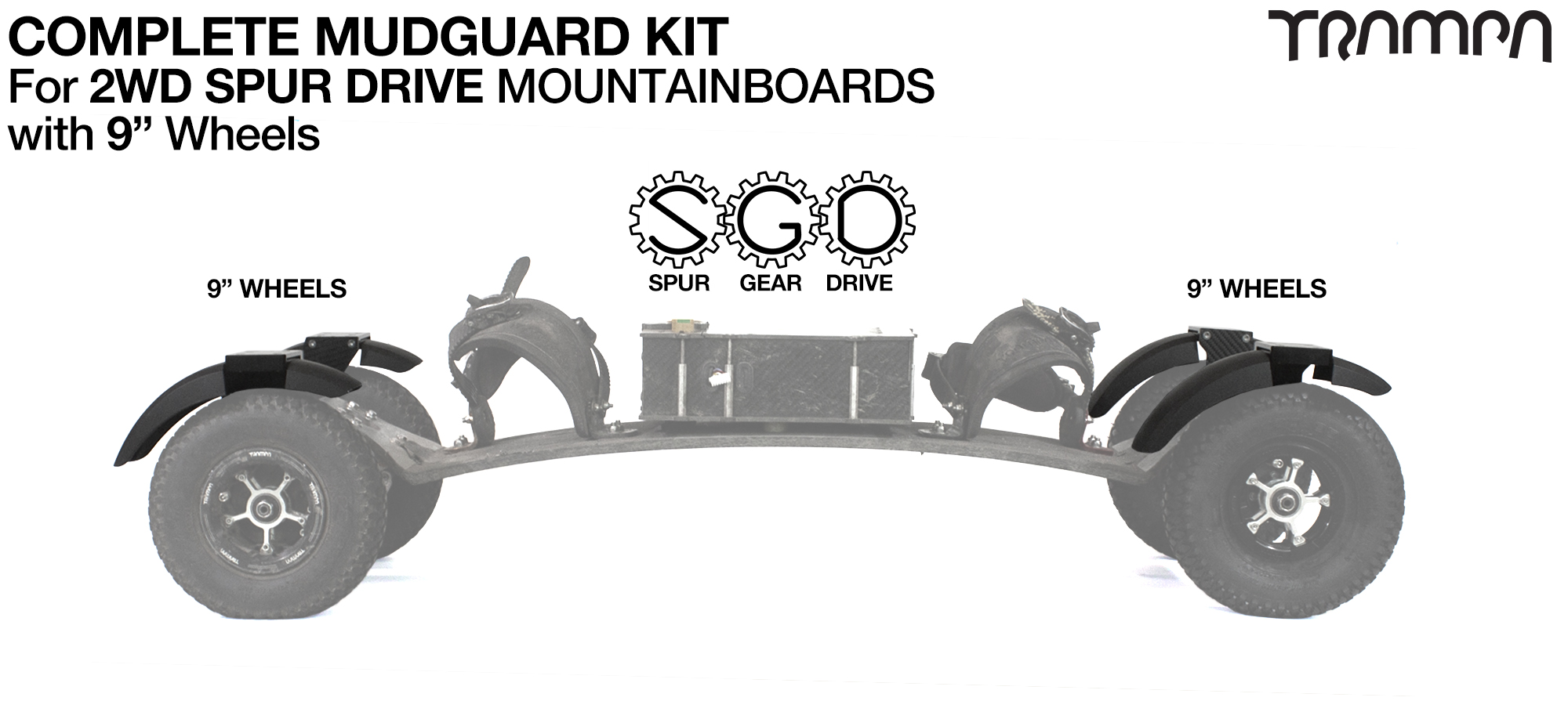 "Full Mudguard Kit for 2WD SPUR GEAR DRIVE Mountainboards - 9"" Wheels All round"