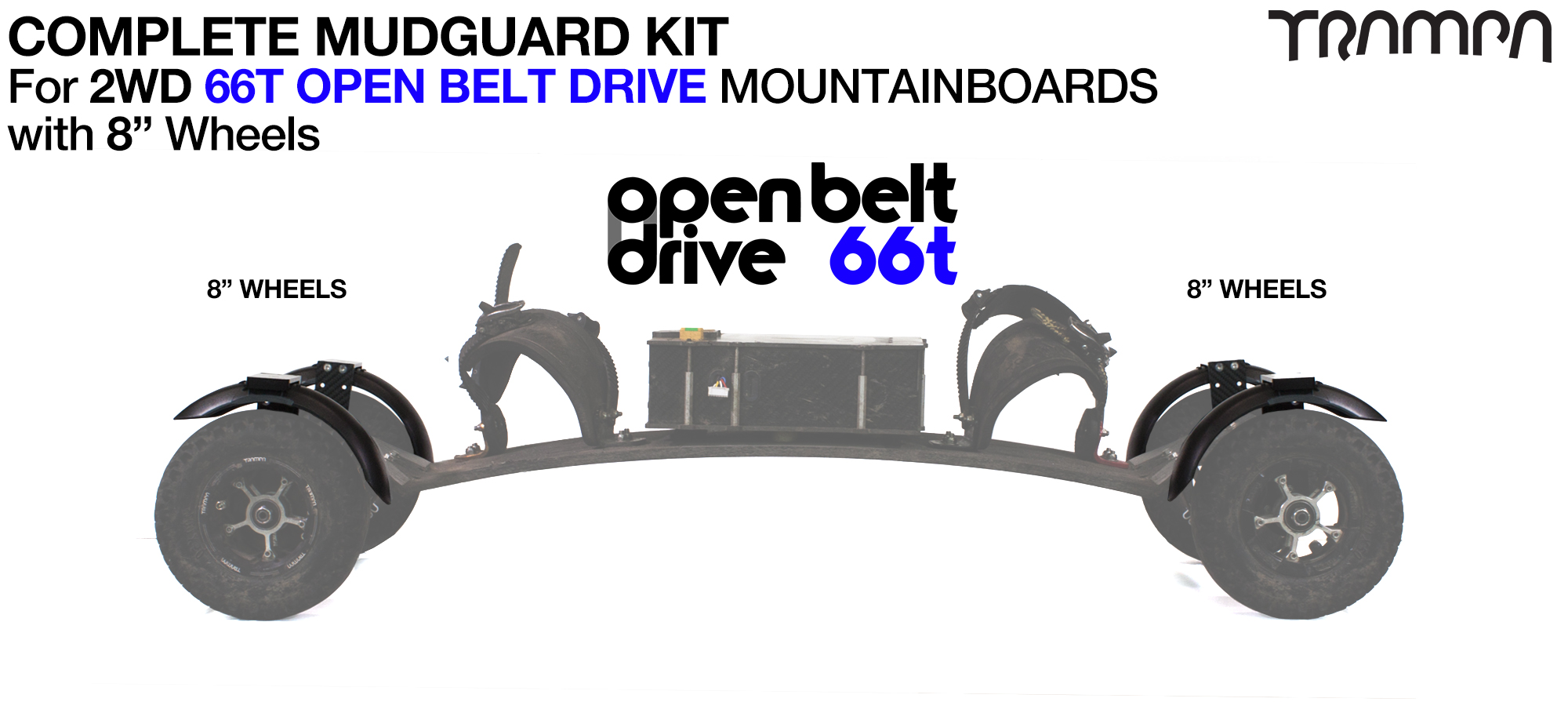 "Full Mudguard Kit for 2WD 66T OPEN BELT DRIVE Mountainboards - 8"" Wheels All round"