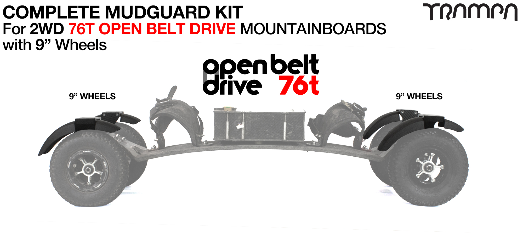 "Full Mudguard Kit for 2WD 76T OPEN BELT DRIVE Mountainboards - 9"" Wheels All round"