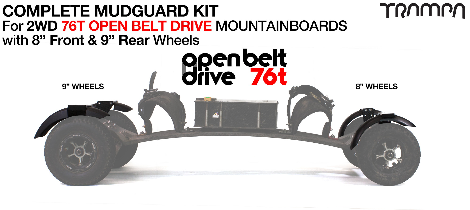 "Full Mudguard Kit for 2WD 76T OPEN BELT DRIVE Mountainboards - 8"" & 9"" Wheels"