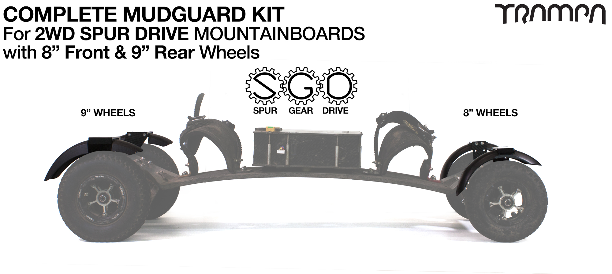 "Full Mudguard Kit for 2WD SPUR GEAR DRIVE Mountainboards - 8"" & 9"" Wheels"