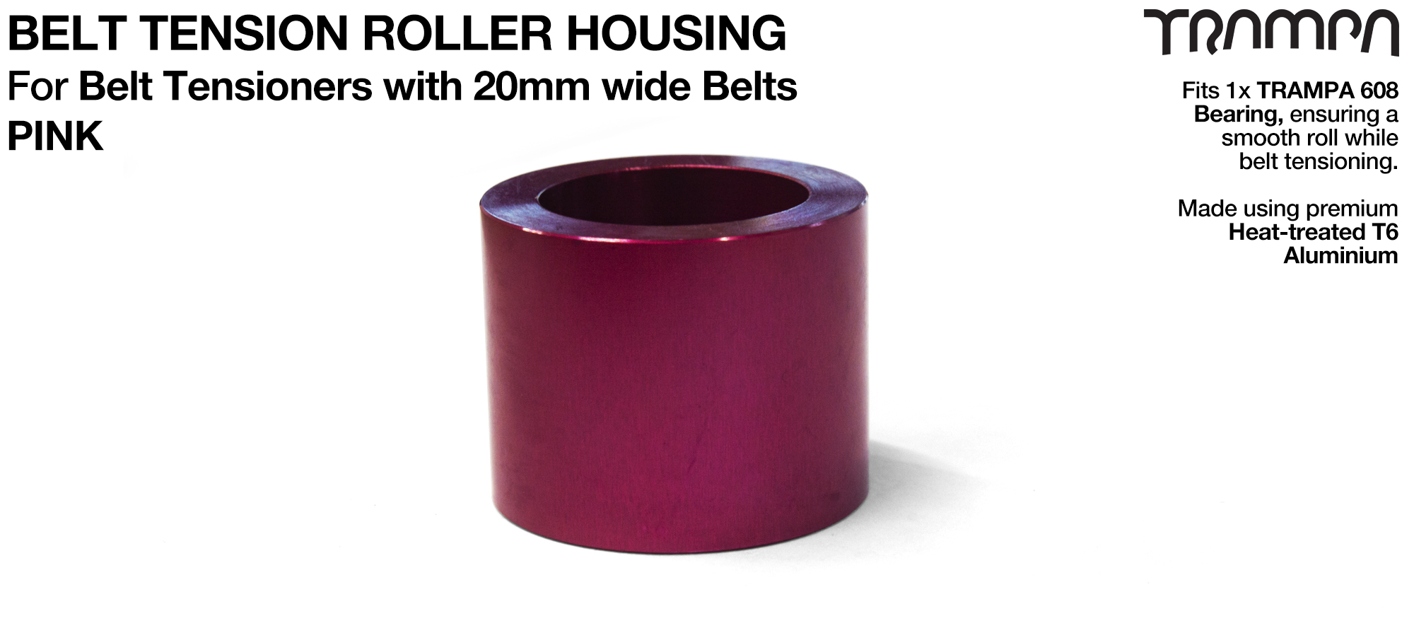 Belt Tension Roller Housing for 20mm Belts - PINK