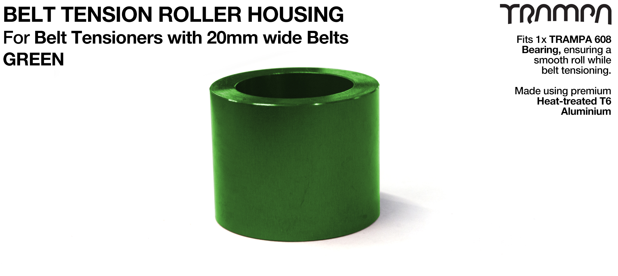 Belt Tension Roller Housing for 20mm Belts - GREEN