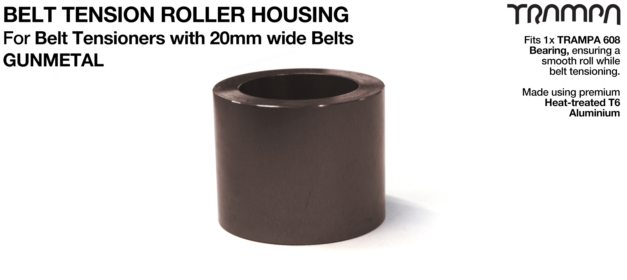 Belt Tension Roller Housing for 20mm Belts - GUNMETAL