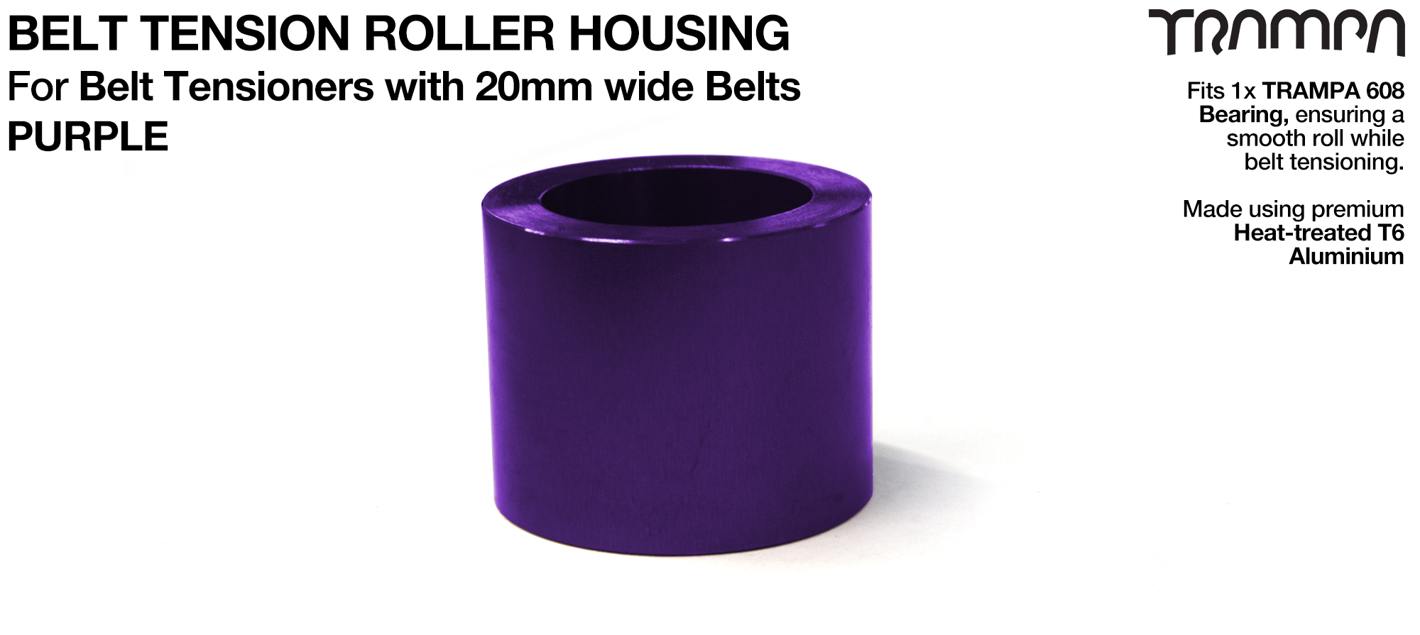 Belt Tension Roller Housing for 20mm Belts - PURPLE