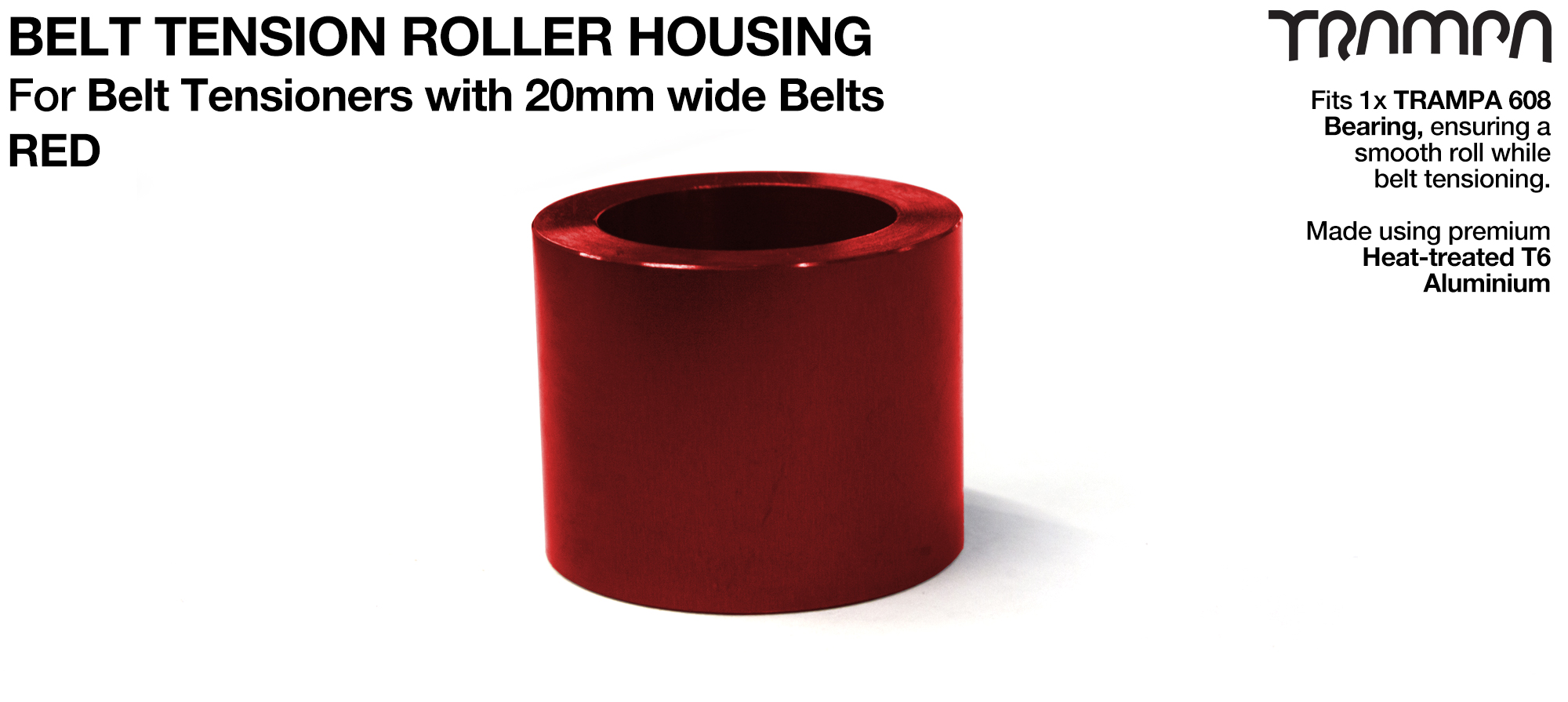 Belt Tension Roller Housing for 20mm Belts - RED