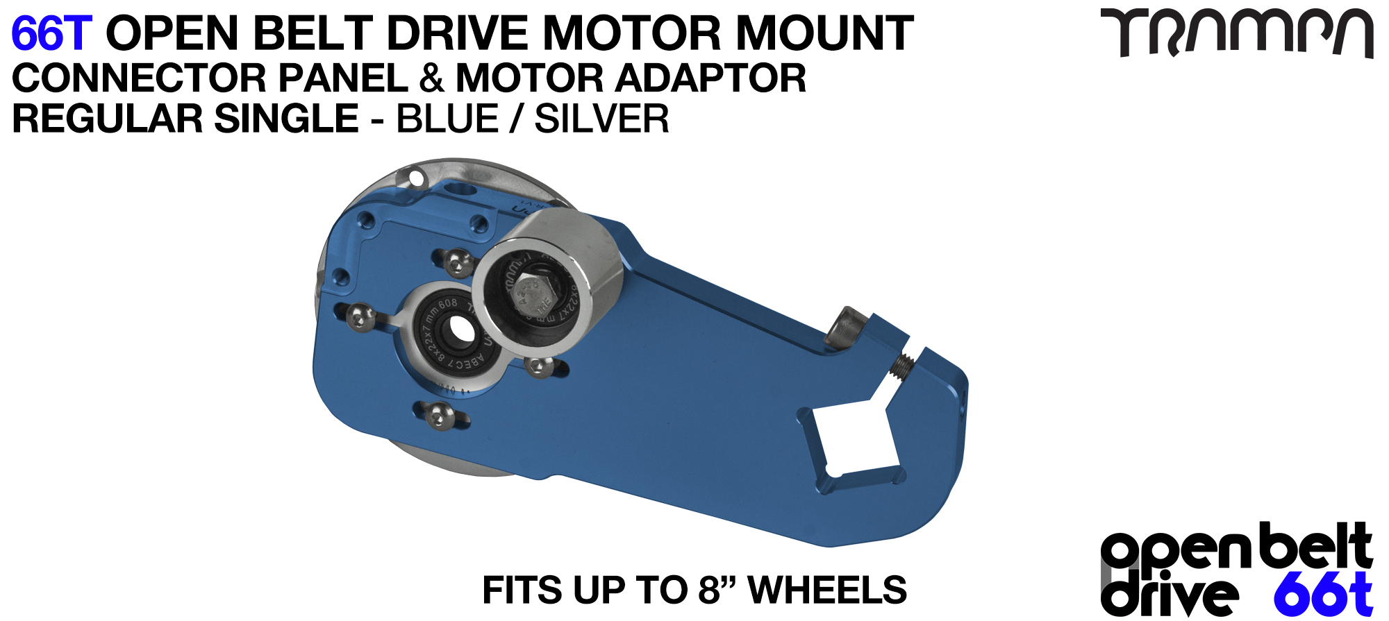 66T OPEN BELT DRIVE Motor Mount & Motor Adaptor - SINGLE BLUE