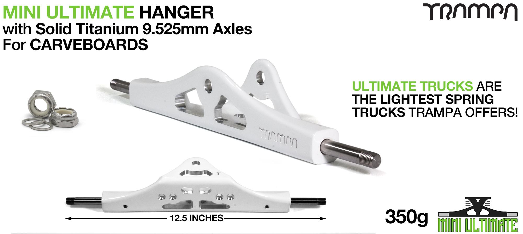 ULTIMATE MINI Hanger - 9.525mm TITANIUM Axles, Powder Coated White & CNC'd light