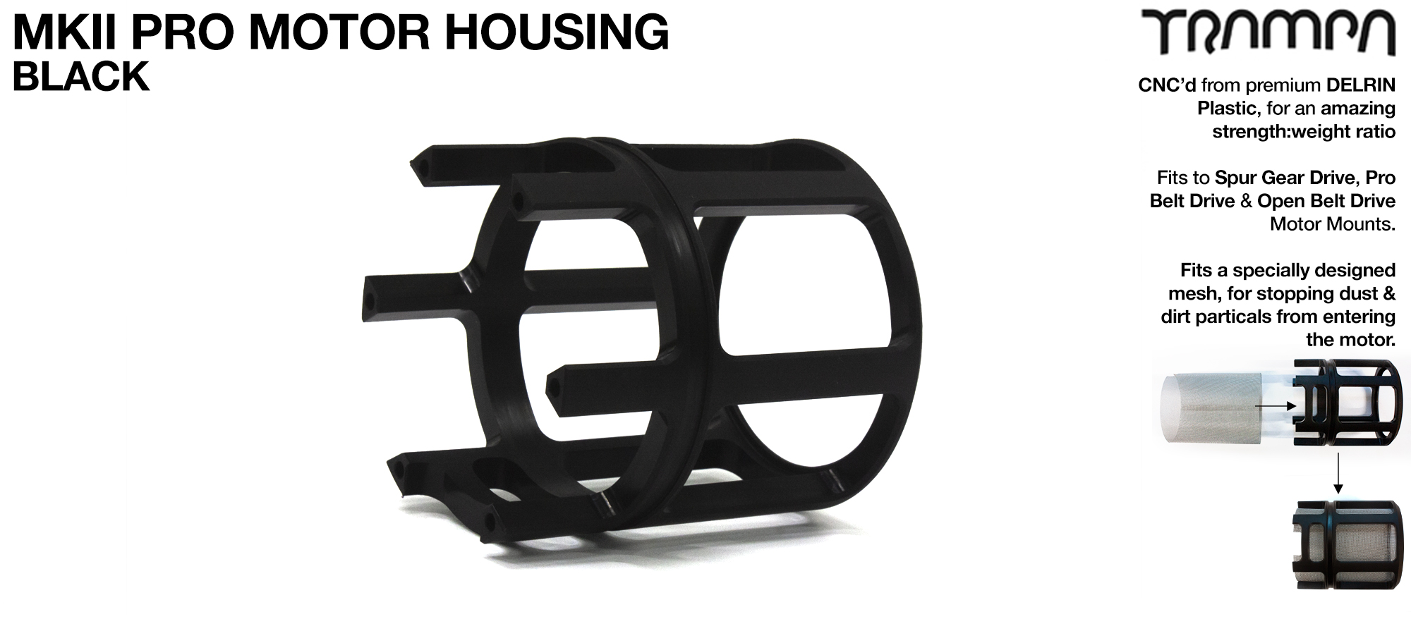 MKII Motor protection HOUSING Open Ended made from tough DELRIN Plastic & fits with Motor Fan - BLACK