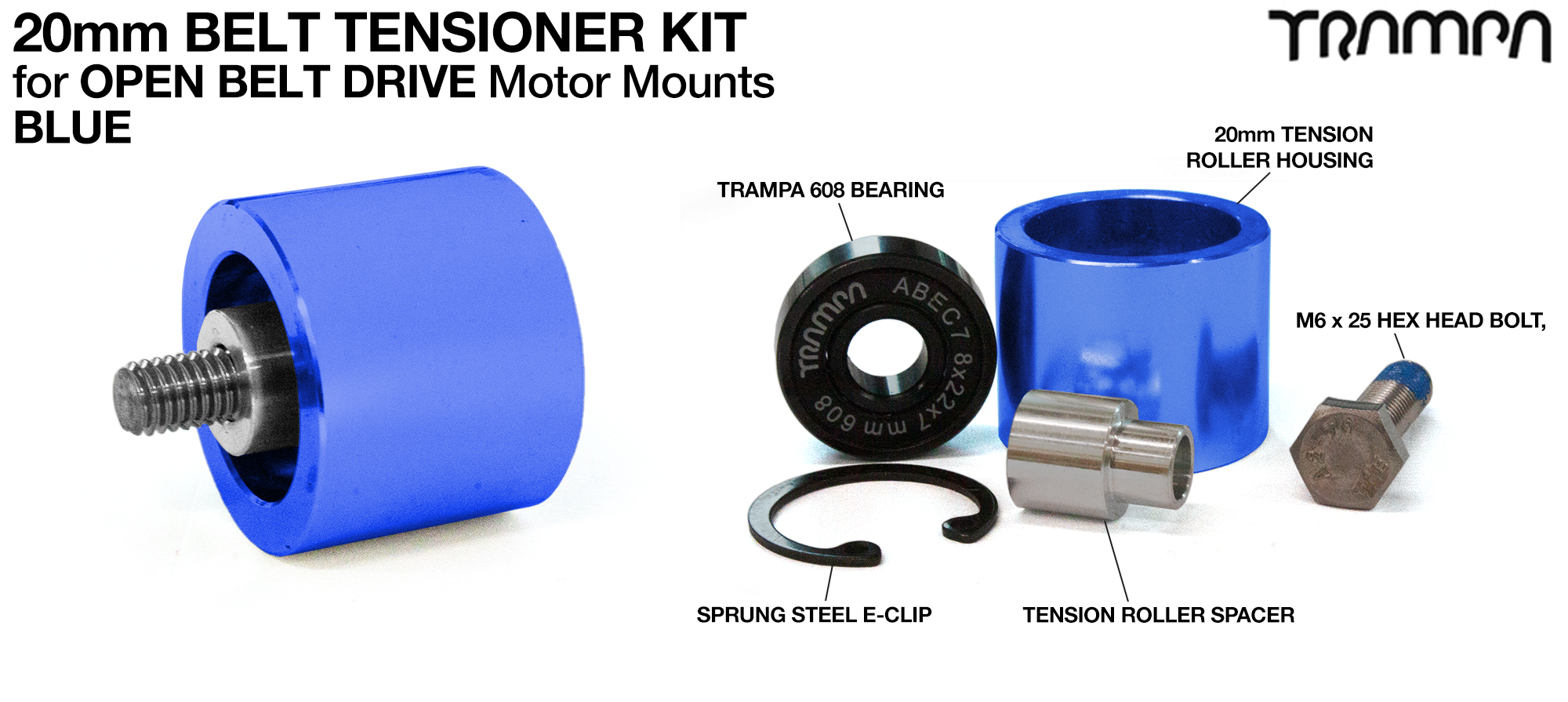OPEN BELT DRIVE Belt Tensioning System for 20mm Belts - BLUE Roller Housing