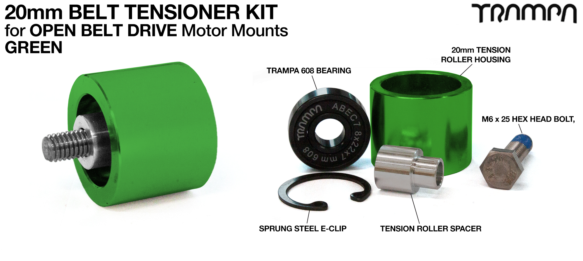 OPEN BELT DRIVE Belt Tensioning System for 20mm Belts - GREEN Roller Housing