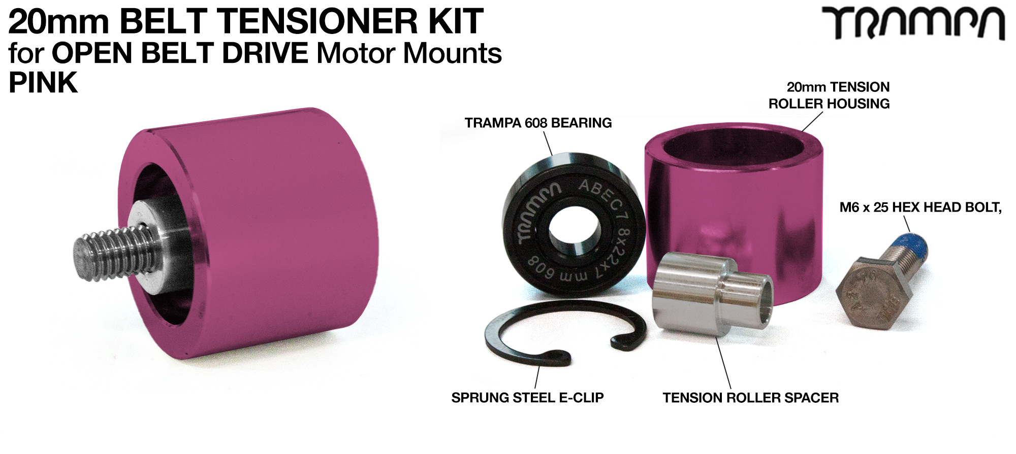 PINK OBD 20mm Belt Tensioners