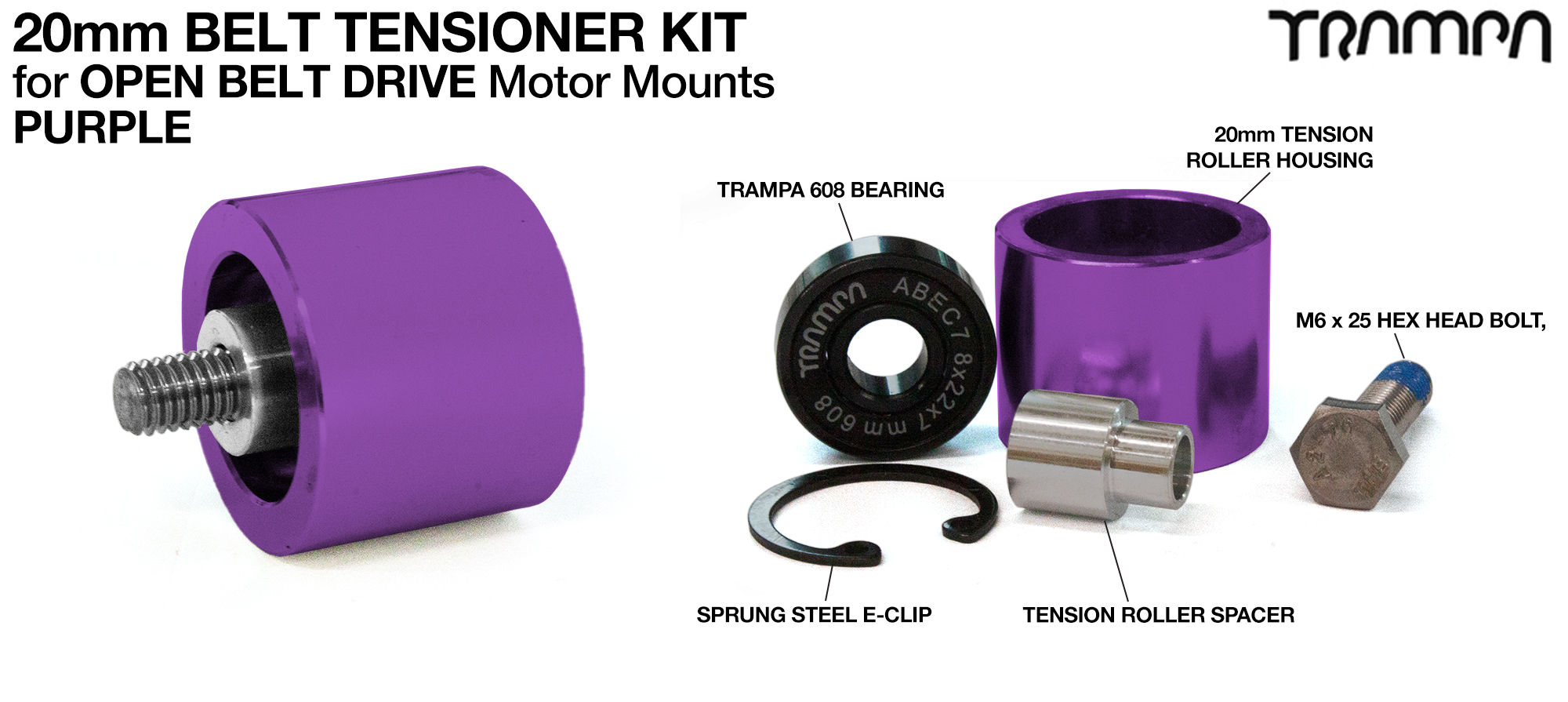 PURPLE OBD 20mm Belt Tensioners