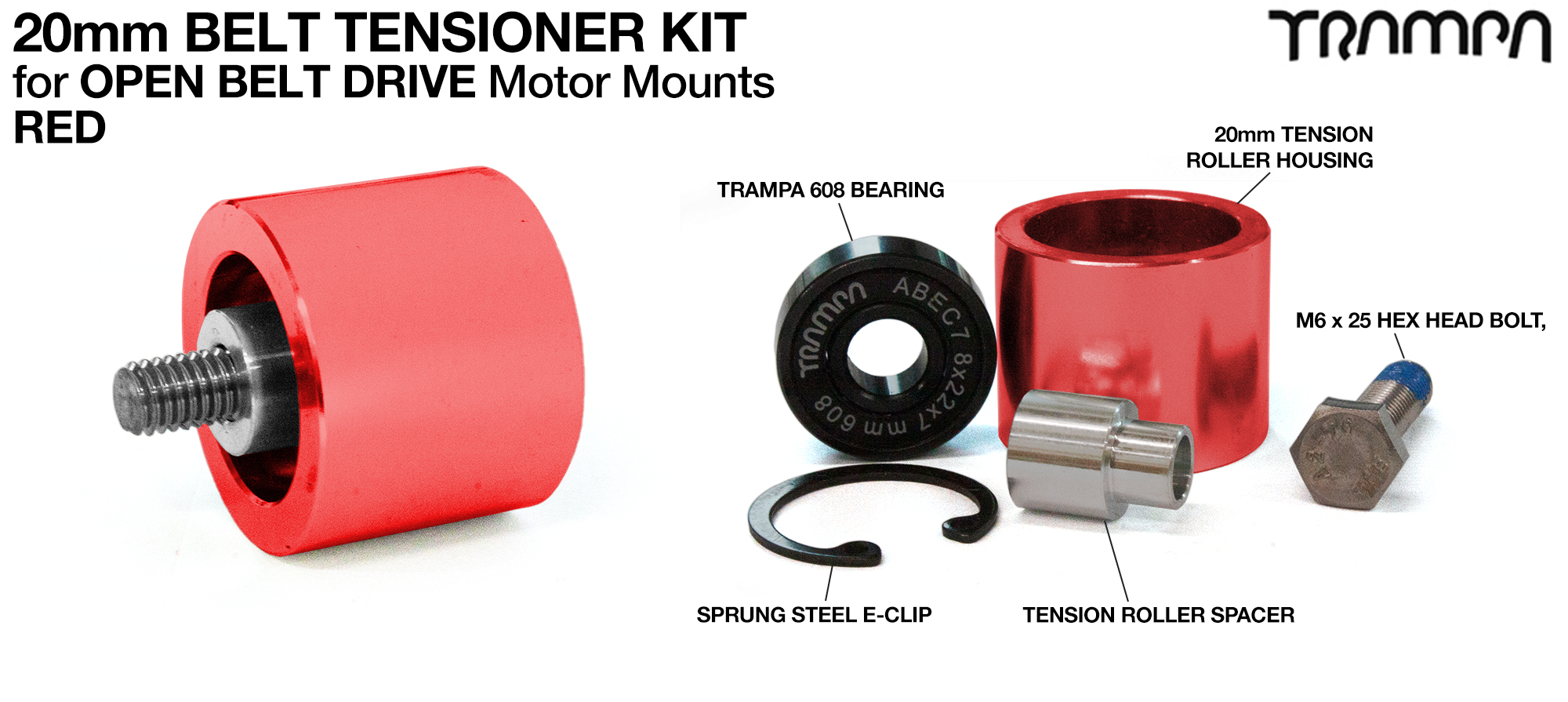 RED OBD 20mm Belt Tensioners