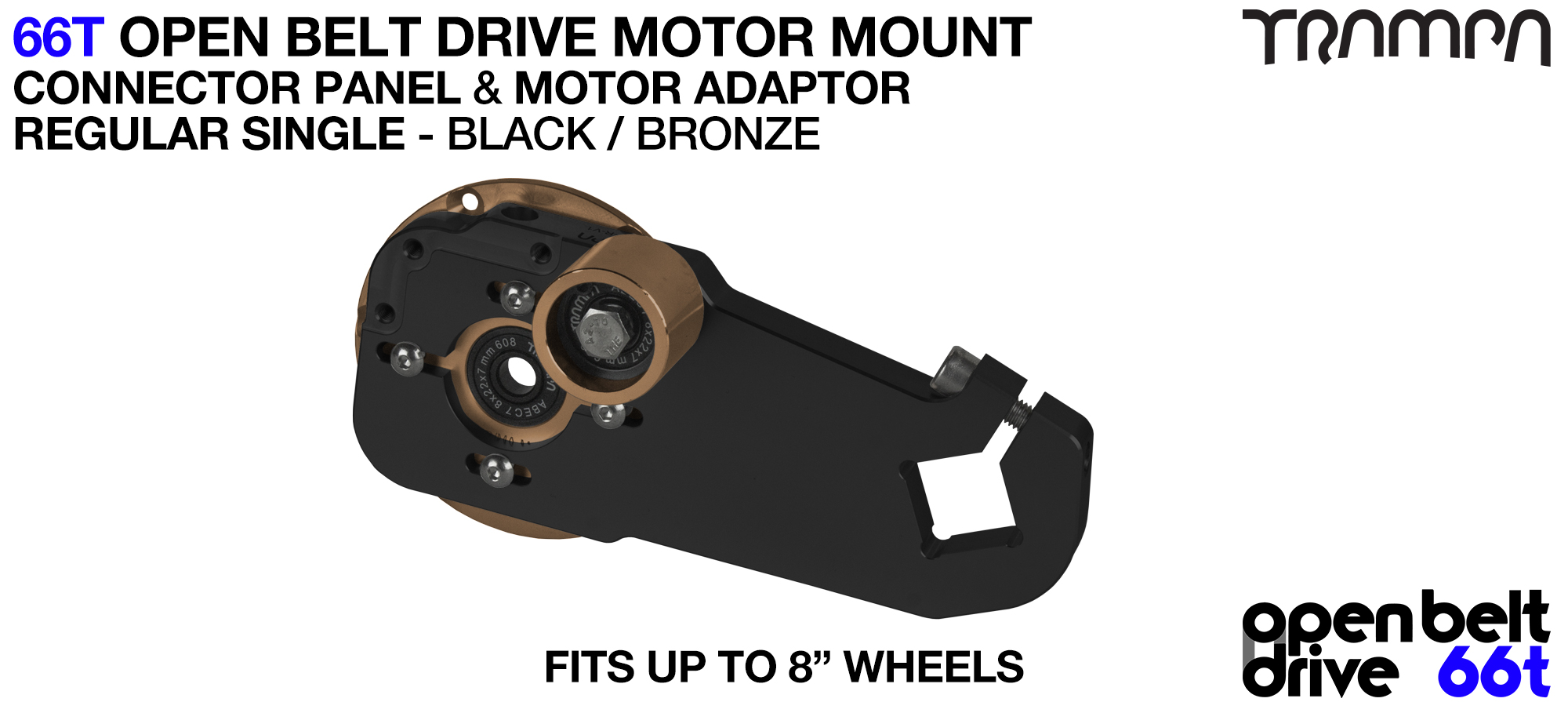 66T OPEN BELT DRIVE Motor Mount & Motor Adaptor - SINGLE BRONZE