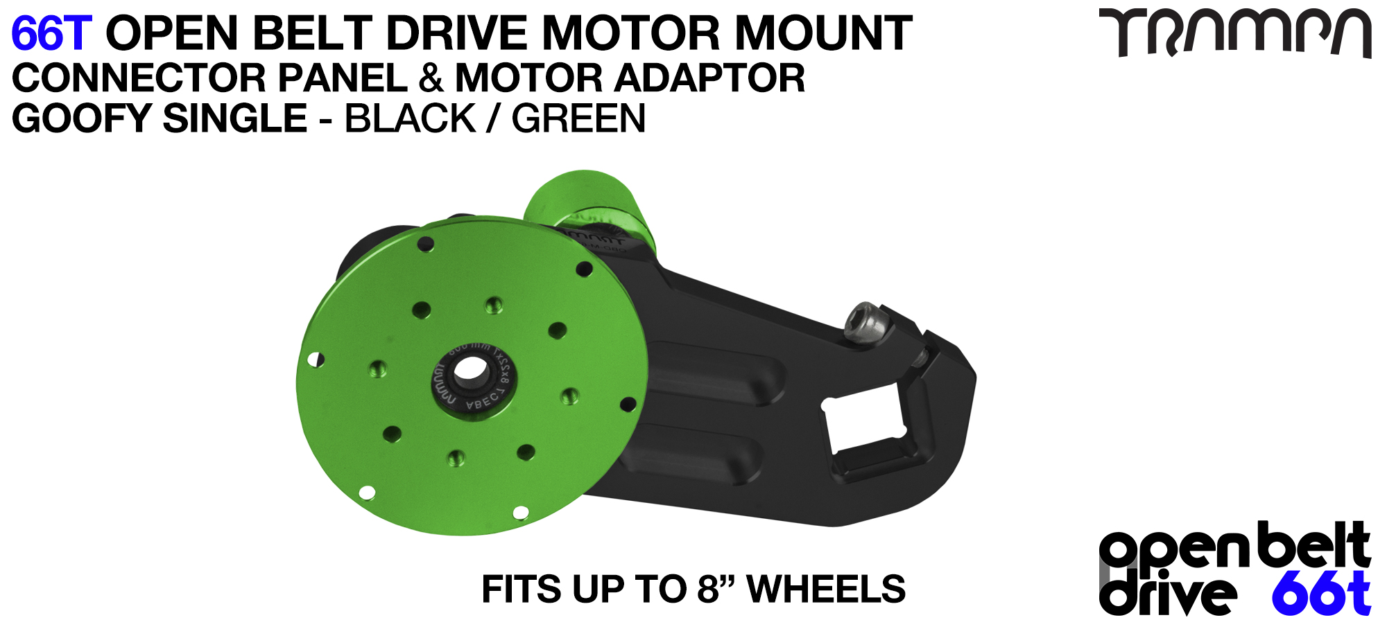 66T OPEN BELT DRIVE Motor Mount & Motor Adaptor - SINGLE GREEN