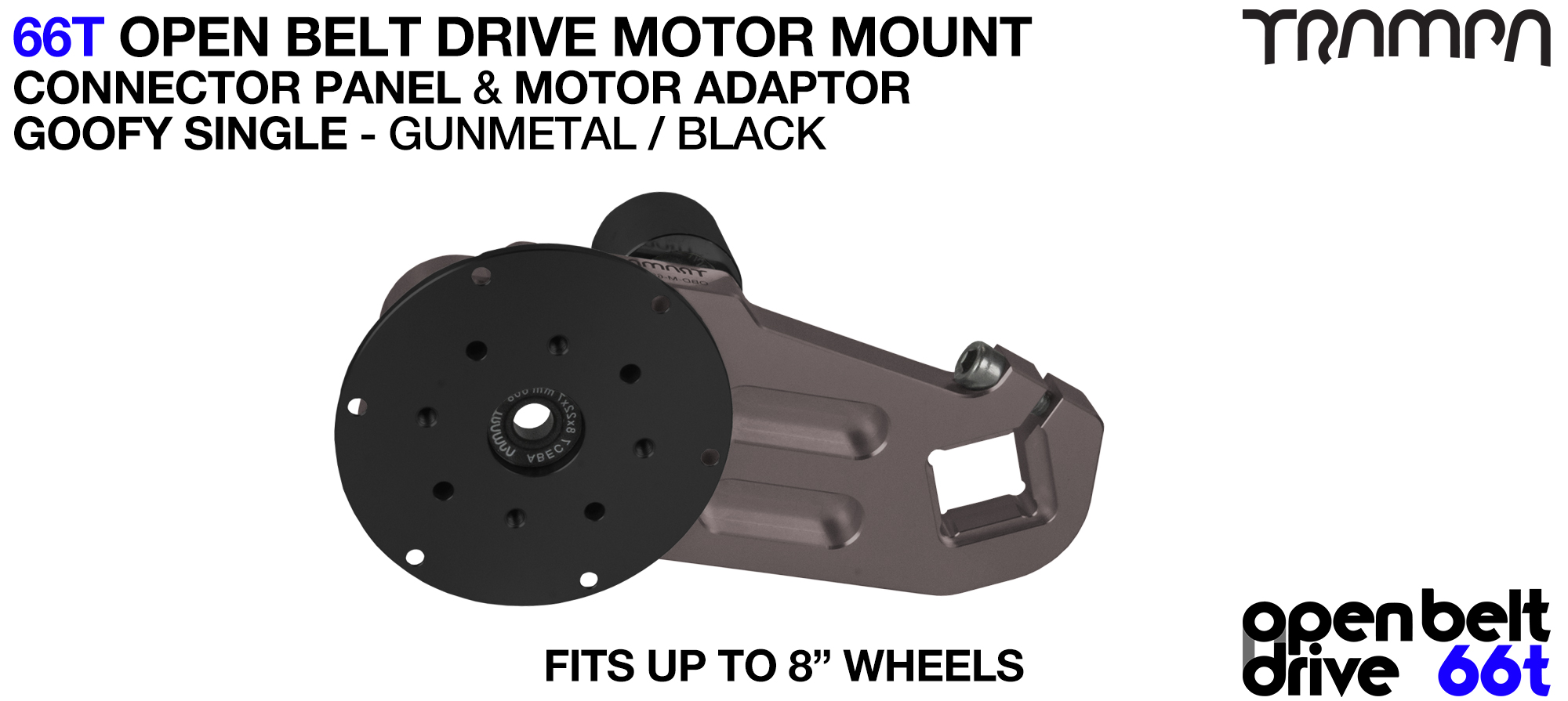 66T OPEN BELT DRIVE Motor Mount & Motor Adaptor - SINGLE GUNMETAL