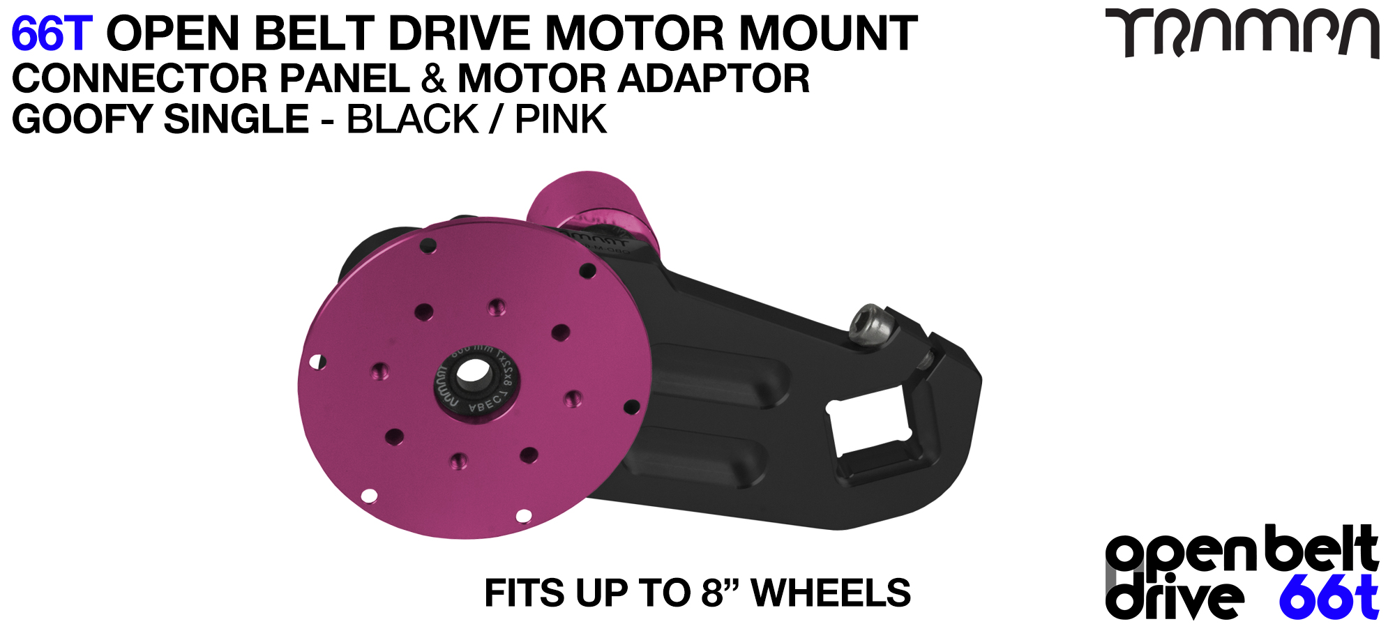 66T OPEN BELT DRIVE Motor Mount & Motor Adaptor - SINGLE PINK